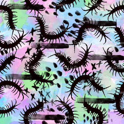 Insect Watercolor Centipedes