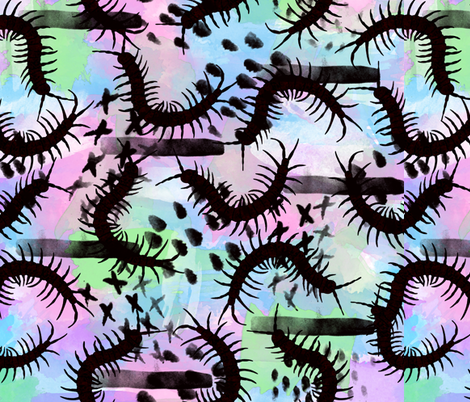 Insect Watercolor Centipedes fabric by lanrete58 on Spoonflower - custom fabric