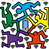 Keith Haring inspired pop art people dance dancing dancers smartphones handphones telephones wifi signals wi fi wi-fi hot spots colorful hexagons rainbow satire parody parodies street culture pop culture modern abstract reinterpreted re-imagined reimagine