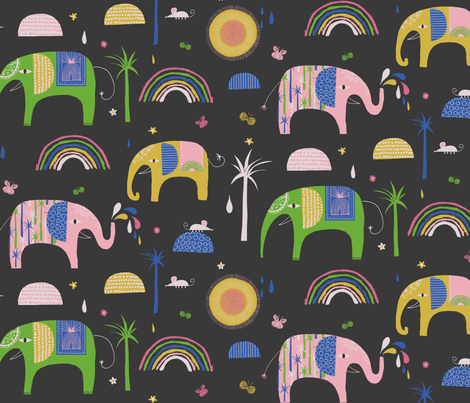 Stacked Elephants fabric by zoe_ingram on Spoonflower - custom fabric