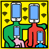 Keith Haring inspired pop art family parents children kids siblings smartphones handphones telephones wifi signals wi fi wi-fi hot spots colorful tablets rainbow satire parody parodies street culture pop culture modern abstract reinterpreted re-imagined r