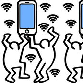 Keith Haring inspired pop art people dance dancing dancers smartphones handphones telephones wifi signals wi fi wi-fi hot spots satire parody parodies street culture pop culture modern abstract reinterpreted re-imagined reimagined celebration celebrating