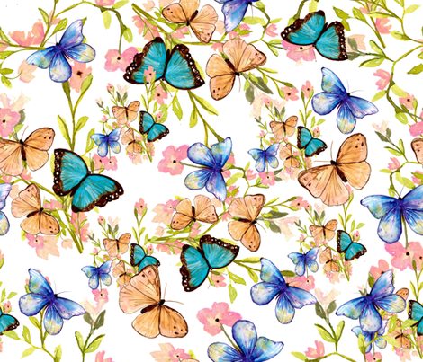 butterfly_white fabric by designsbyismatshahid on Spoonflower - custom fabric