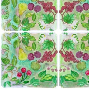 Tiles of Fruit handpainted