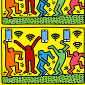 1 Keith Haring inspired pop art people dance dancing dancers smartphones handphones telephones wifi signals wi fi wi-fi hot spots colorful rainbow satire parody parodies street culture pop culture modern abstract reinterpreted re-imagined reimagined celeb
