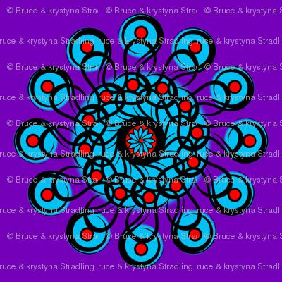 "Black-n-Red-n-Turquoise Rosette 54"" Scarf"