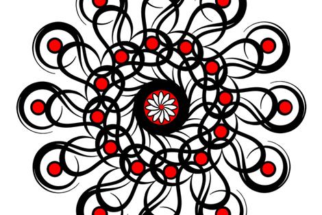 "Black-n-Red Rosette 54"" Scarf fabric by stradling_designs on Spoonflower - custom fabric"