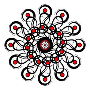 "Black-n-Red Rosette 54"" Scarf"
