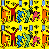 2 Keith Haring inspired pop art people dance dancing dancers smartphones handphones telephones wifi signals wi fi wi-fi hot spots colorful rainbow satire parody parodies street culture pop culture modern abstract reinterpreted re-imagined reimagined celeb