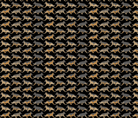 Trotting German Shepherd dog border B - small fabric by rusticcorgi on Spoonflower - custom fabric