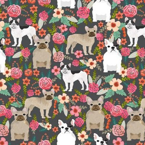 french bulldog florals fabric  tan, black and white frenchies fawn frenchies fabric for dog lovers
