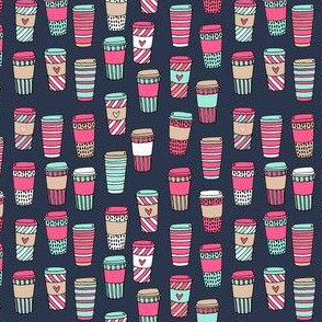coffee fabric // pink mint and navy coffee cafe latte coffee fabric