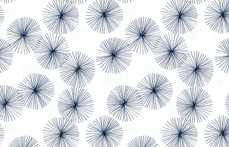 Dandelions White Navy by Friztin fabric by friztin on Spoonflower - custom fabric