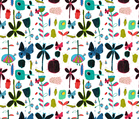 watercolor_insects fabric by bruxamagica on Spoonflower - custom fabric