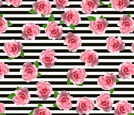 Pink Roses on Black and White Stripes fabric by infiknit_fabrics on Spoonflower - custom fabric