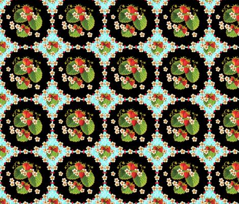 Retro Strawberries Medallion fabric by patriciasheadesigns on Spoonflower - custom fabric