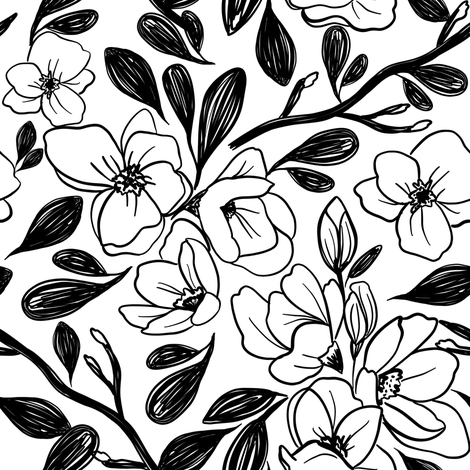 Indy Bloom Magnolias C fabric by indybloomdesign on Spoonflower - custom fabric