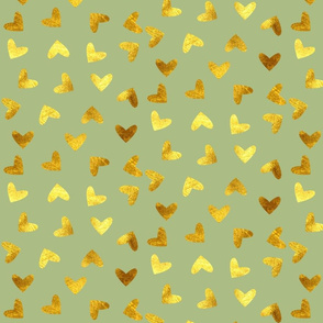 Gold heart green