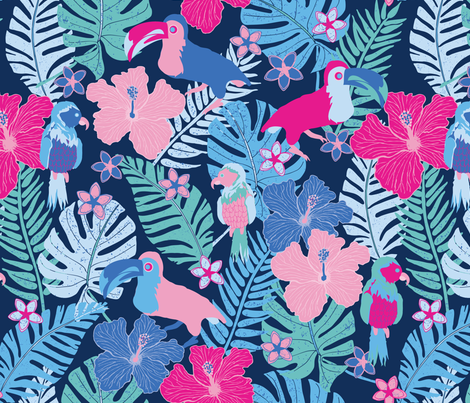 Birds in Tropical Paradise Large fabric by laine_and_leo on Spoonflower - custom fabric