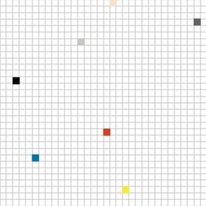 High Energy* (Rainbow on Silkscreen Grid) || geometric squares grid graph paper 80s retro scatter pastel grid pixel rainbow memphis