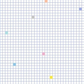 High Energy* (Television Blue Grid) || geometric squares grid graph paper 80s retro scatter pastel grid pixel