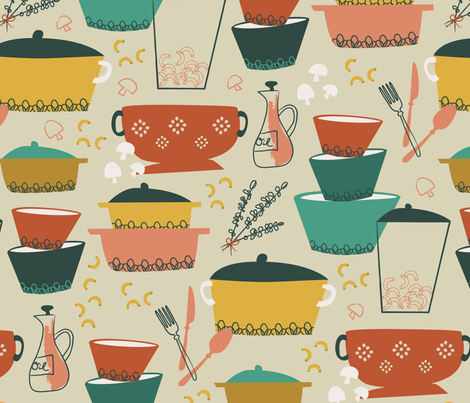 Pasta with mushrooms and herbs ~ retro bistro fabric by retrorudolphs on Spoonflower - custom fabric