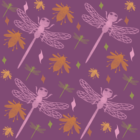 Bees and Dragonflies + fabric by gargoylesentry on Spoonflower - custom fabric