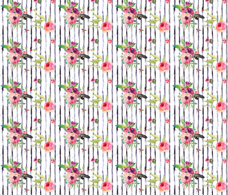 "10.5"" Lose Yourself Floral Stripes / 90 degrees fabric by shopcabin on Spoonflower - custom fabric"