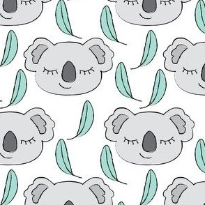 koalas-with-teal-leaves