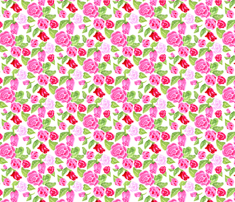 Roses on White fabric by dreamoutloudart on Spoonflower - custom fabric