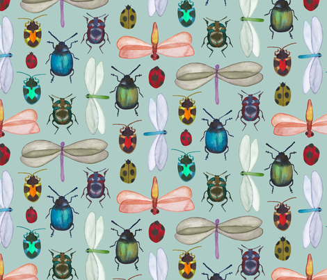Living Jewels Insect watercolour fabric by gcave on Spoonflower - custom fabric