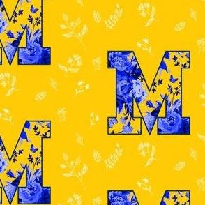 M is for Michigan / Yellow & White / school Spirit