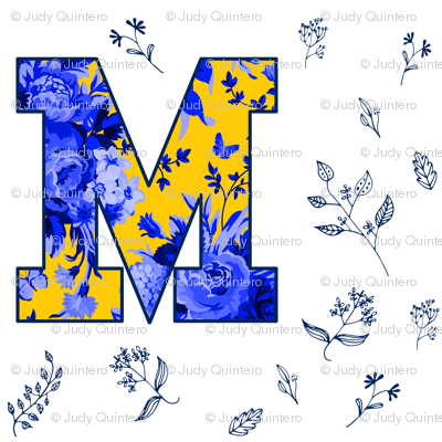 "4"" M is for Michigan / White & Blue / School Spirit"
