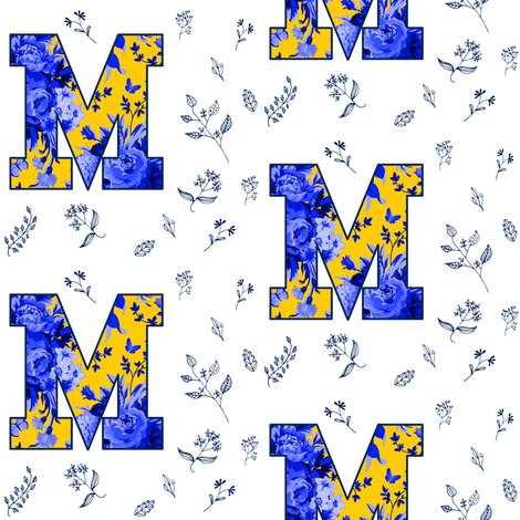 "4"" M is for Michigan / White & Blue / School Spirit fabric by shopcabin on Spoonflower - custom fabric"