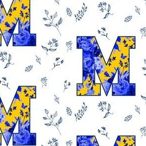 "4"" M is for Michigan / White & Blue / School Spirit"
