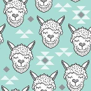 llamas-and-triangles on teal