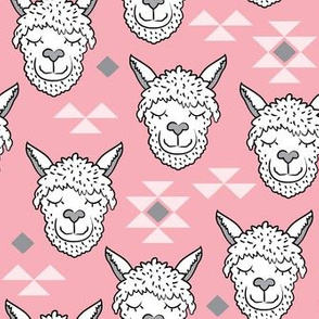 llamas-and-triangles-on pink