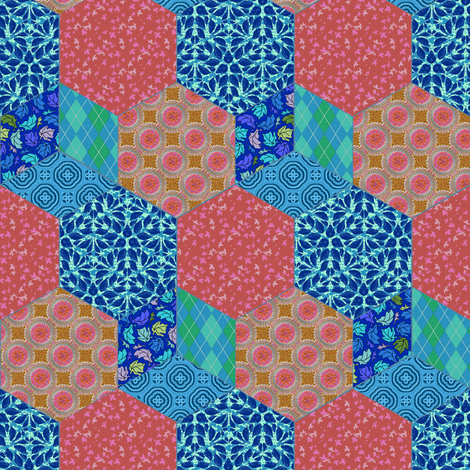 Raspberry and Blueberry Hexagon and Cube Cheater fabric by eclectic_house on Spoonflower - custom fabric