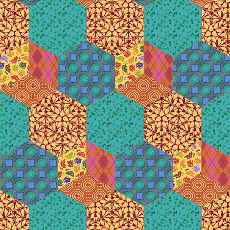 Teal and Orange Hexagon and Cube Cheater fabric by eclectic_house on Spoonflower - custom fabric