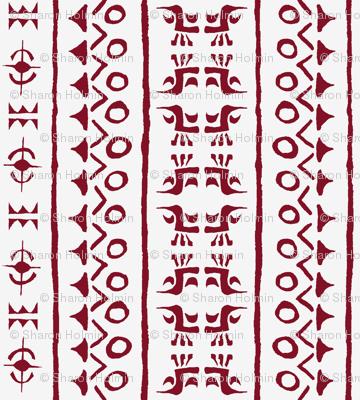 Tribal Bird Stripe Indian Red on Ivory