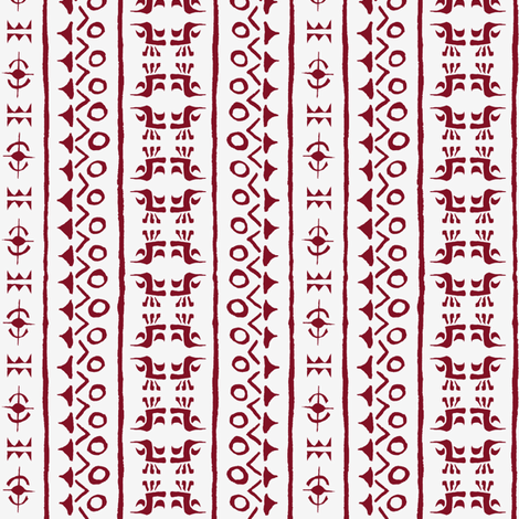 Tribal Bird Stripe Indian Red on Ivory fabric by shi_designs on Spoonflower - custom fabric