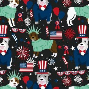 pitbull terrier fabric july 4th patriotic america fabric - black