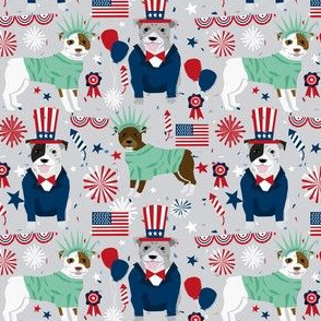 pitbull terrier fabric july 4th patriotic america fabric - light grey