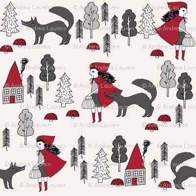 red riding hood fabric // crimson off-white fairytale design hand-drawn illustration andrea lauren