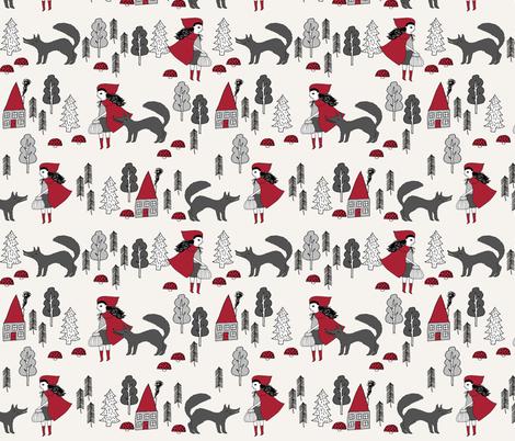 red riding hood fabric // crimson off-white fairytale design hand-drawn illustration andrea lauren fabric by andrea_lauren on Spoonflower - custom fabric