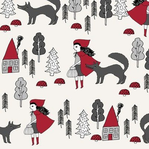 red riding hood fabric // crimson off-white fairytale design hand-drawn illustration andrea lauren