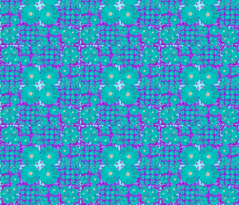 aqua and lavender flowers fabric by twigsandblossoms on Spoonflower - custom fabric