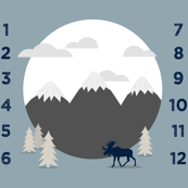 "42"" - monthly picture blanket (navy on white) - scenic moose - watch me grow"