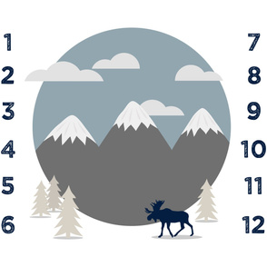 """42"""" - monthly picture blanket (navy on white) - scenic moose - watch me grow"""
