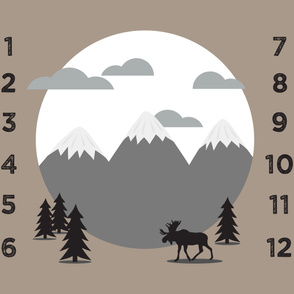"""42"""" - monthly picture blanket (neutrals) - scenic moose - watch me grow"""